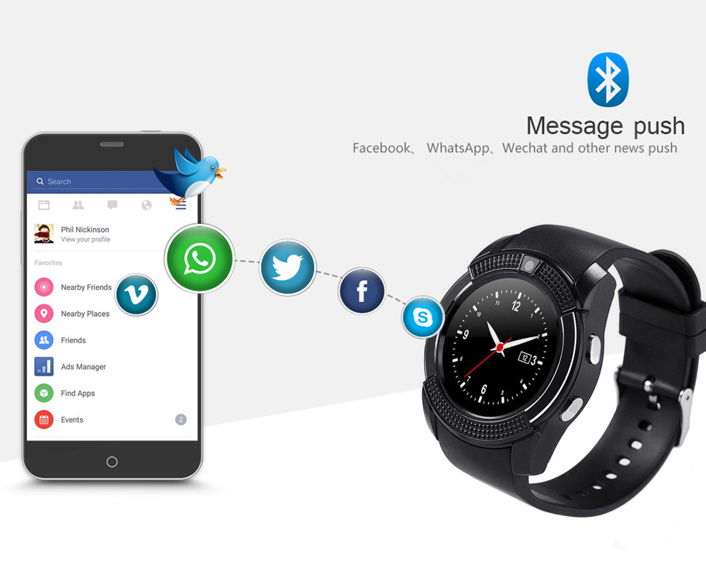 V8 Smart Watch Fitness Tracker - Manufacturers, Suppliers